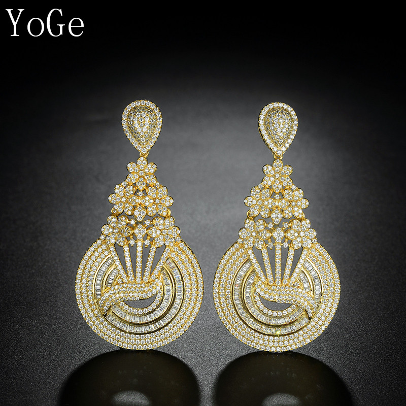 YoGe statement Jewellery E9314 Luxury antique AAA CZ Fashion big heavy round drop Earrings Women accessaries