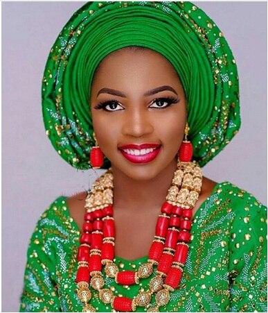 Dubai or Costume femmes déclaration collier ensemble charmes blanc africain mariage perles ensembles de bijoux pour les mariées cadeau d'anniversaire ABH590 - 5