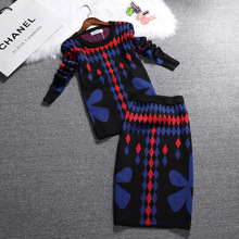 new winter knitted women's sets geometry and flower print warm rabbit hair sweater + skirt suit