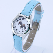 Popular Cute Girl Ladies Watch Kids Watches Horse Leather Quartz Stude