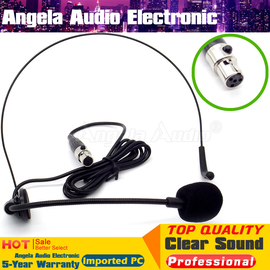 Single Earhook Headset Microphone w// 4 pin mini XLR for Audio Technica