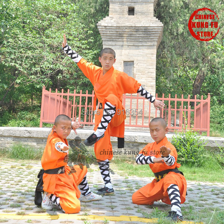 Durable Polyester Orange Shaolin Monk Daily Training Suit Kung fu School Uniforms Wushu Martial arts Clothes цена