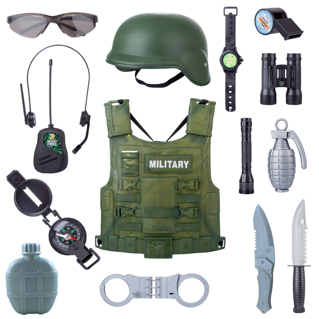 New 14Pcs Children Simulation Policeman Role Play Military Combat Playset For Boys Kids Playing Set