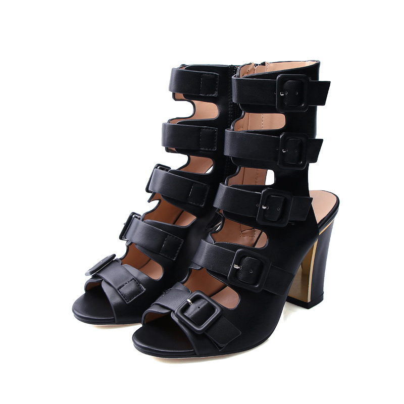 ФОТО 2017 Summer Sexy Girl Pumps Gladiators Black Hollow Out Buckle Zip Thick High Heels Ladies Peep Toe Sandals Woman Casual Shoes