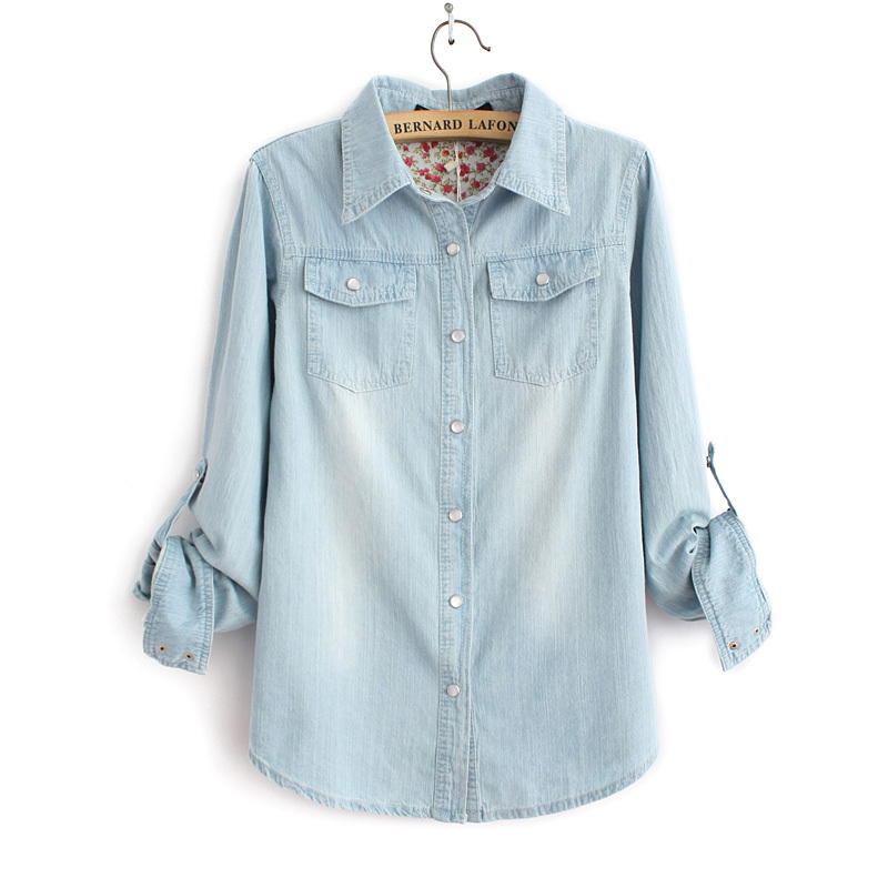 89dab3109 Women Fashion Light Blue Denim Shirt With Two Pockets Ladies Casual Jeans  Blouse 3072401503-in Blouses & Shirts from Women's Clothing on  Aliexpress.com ...
