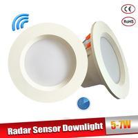 O sensor de movimento do radar conduziu downlight 5 w 7 w recessed lâmpada do teto 110/220 v conduziu a lâmpada para a passagem interna da sala de visitas conduziu a lâmpada do ponto Luzes embutidas de LED     -