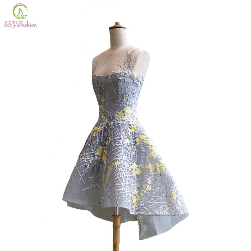 SSYFashion New Elegant Lace Cocktail Dress The Bride Banquet Sweet Grey Flower Sleeveless Asymmetry Short Prom