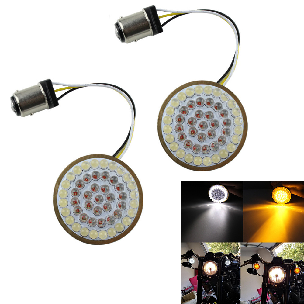 FADUIES 2 Bullet Style LED Turn Signal W/ Running yellow with white Light Kit for Harley Sportster 2014-17 Front Turn Signals FADUIES 2 Bullet Style LED Turn Signal W/ Running yellow with white Light Kit for Harley Sportster 2014-17 Front Turn Signals