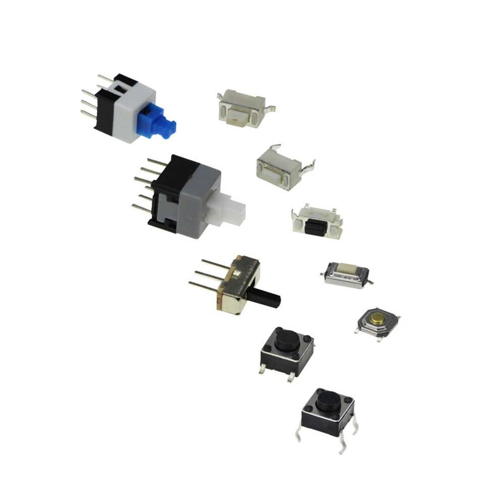 Eletrônica inteligente 100 pçs/lote 10 tipos de interruptores táteis botão de pressão smd tact switch