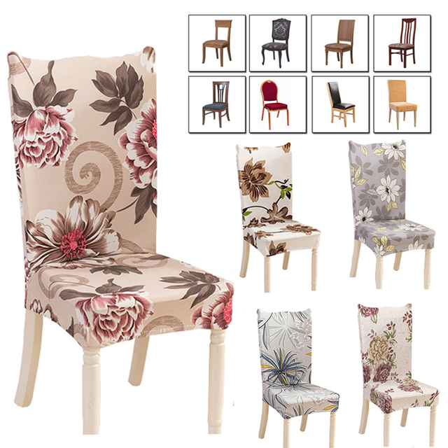 Stretch Dining Chair Covers Best Reclining Camping Chairs Flower Printed Spandex Protector Cover Removable Washable Room Shabby Slipcover Decoration