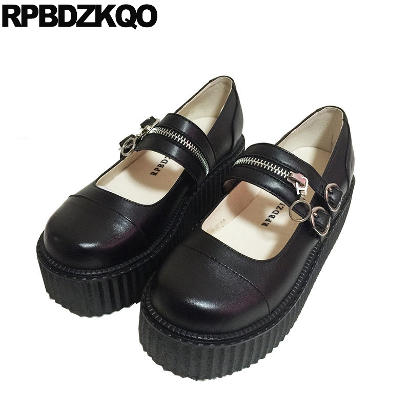 9ad63e4f77fac Medium Heels Size 33 Pumps Black Lolita Mary Jane Creepers Sweet Round Toe  Harajuku Ladies Zipper