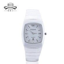 RGENS оригинальные женские Керамика наручные часы кварцевые женские часы квадратный повседневные водонепроницаемые наручные часы Роскошный Бриллиантовый номер 5508