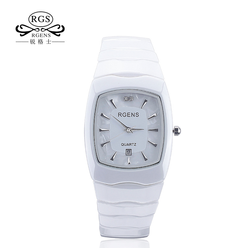 RGENS Original women ceramics wrist watch quartz ladies clocks Square casual waterproof wristwatches luxury Diamond number