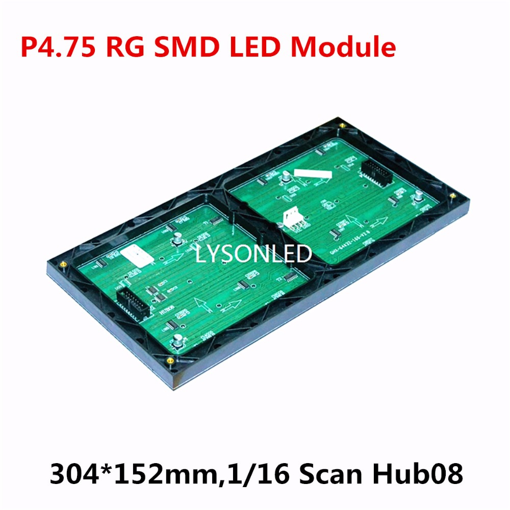 30pcs/lot P4.75 Indoor 2-in-1 RG Dual Color Led Display Module 304x152mm 1/16 Scan Hub08 Replace F3.75 RG Dot Matrix LED Module