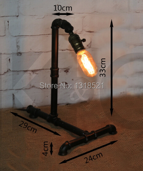 купить Edison Lamp Bulb Vintage Table Lamps Personalized Water Pipe Table Lights Desk Book Lamp E27 Loft Vintage Lighting по цене 4009.13 рублей