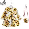 Vestido 2-8years retail + bolsa/set de lino estampado de flores vestido de niña de verano primavera otoño largo de la manga de la princesa yellow sunflower