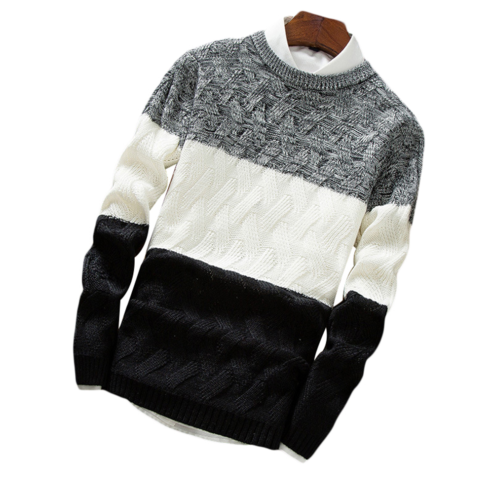 Fashion Men's Knit Pullover Coat Long Sleeve Round Neck Slim Knitting Sweater