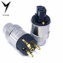 XSSH YIVO Đồng Nguyên Chất Mạ Vàng 24K DIY Điện AC Điện 15A Nam Nữ EU Hoa Kỳ Tùy Chọn Kết Nối Schuko IEC Cắm Ổ Cắm