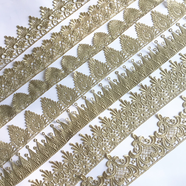 ASHION gold lace silver lace trim water soluble embroidery crown flower sewing lace fabric islamic headscarf hair accessories JB