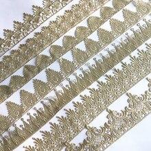 ASHION Золотая кружевная Серебряная отделка, Водорастворимая вышитая Корона, цветок, кружевная ткань для шитья, мусульманский головной платок, аксессуары для волос JB