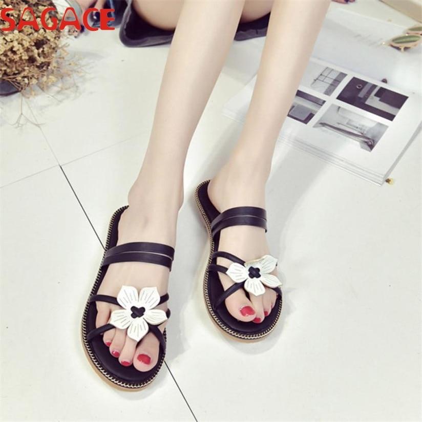 все цены на  SAGACE Women Bohemia Summer Flower Weave Sandals Beach Peep-Toe Flip Flops Shoes  Best Gift Wholesale Mar23#3  в интернете