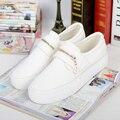 Frete grátis nova Primavera das mulheres sapatos casuais sapatos brancos prendedor