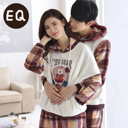 Free Shipping New Arrive Winter Full Sleeve Coral Velvet Cartoon Plaid Lovers White Colour Warmth Sleepwear