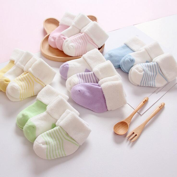 New Fashion Baby Boys Girls Winter Socks Striped Thicked Warm