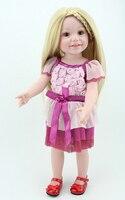 Boxed Handmade Play Doll Full Vinyl Lifelike Smile 18 inch Baby Girl Doll Toy Blond Hair Brown Eyes