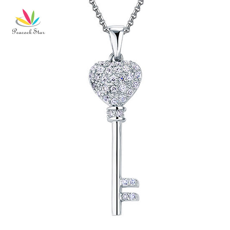 Peacock Star Love Key Solid 925 Sterling Silver Pendant Necklace Jewelry CFN8029