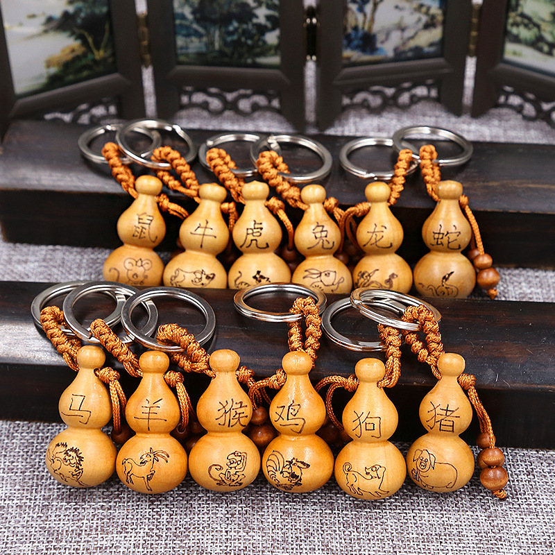 Fashion Ethnic Chinese Zodiac Pattern Sculpture Wood Gourd Keychain Woman Bag Charms Luck Key Chains Ring Party Trinket Man Gift image