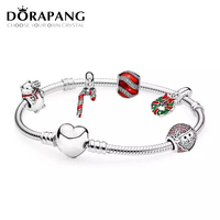 DORAPANG 925 Sterling Silver Sparkling Surprise Twinkling Christmas Old Man Charms Fit Bracelets Clear CZ Women