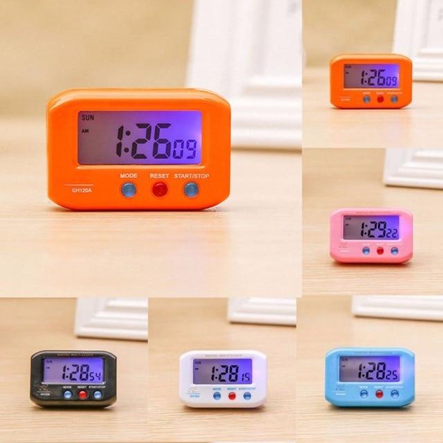 71e92718c96 Tamanho de Bolso portátil de Viagem Eletrônico Digital Alarme Cronômetro  LCD Relógio Com Snooze Backlight Relógio