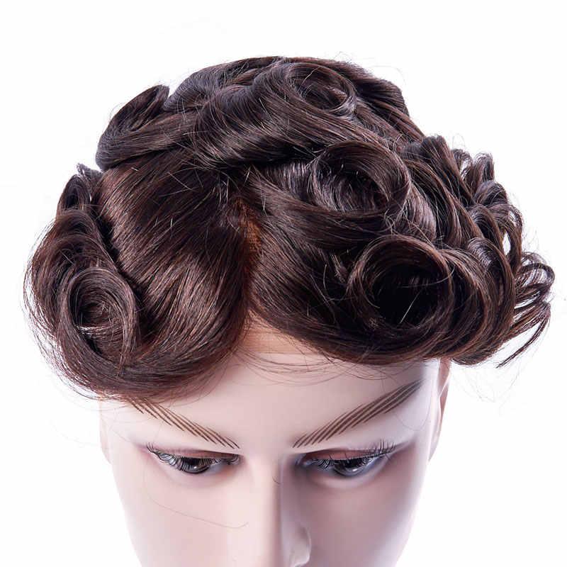 Ali Queen Find Mono Lace con piel sintética fina para hombres, sistemas de repuesto de cabello indio Remy, cabello humano, peluquín, peluca para hombres