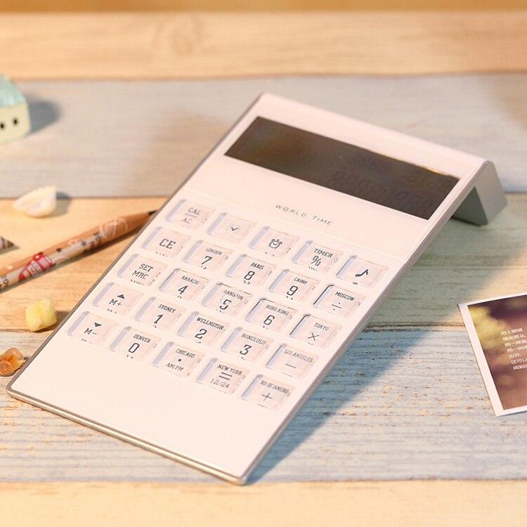 Moda branco fino calculadora estudante material de escritório transparente grandes botões frete grátis