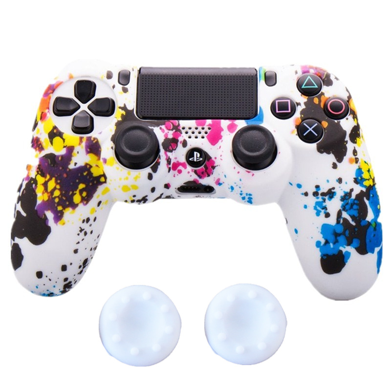 Protective Silicone skin Case Cover 2x Silicone Thumbstick Cap For Sony Playstation 4 PS4 Controller for PS4 slim pro Controller