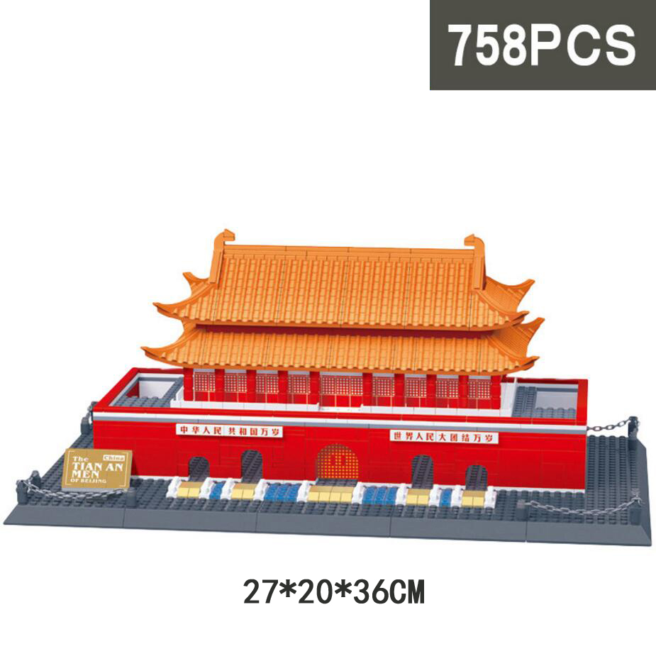Hot world famous Architecture perking Tian'an men Square beijing china building block model brick educational toys collection loz mini diamond building block world famous architecture nanoblock easter island moai portrait stone model educational toys