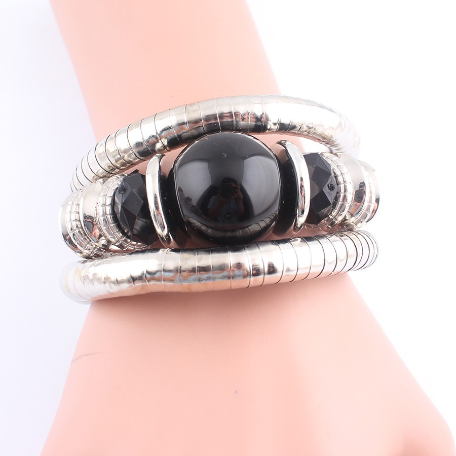 18 Tibetan Silver Snake Bracelets for Women Men Resin Inlay Simulated Pearl Beads Flexible Bangles Pulseras Mujer B581 19