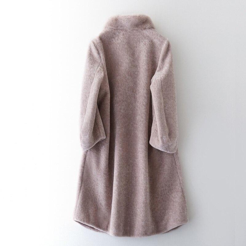 2018 Col Gray Femmes Hiver Coréen Fourrure Automne Vintage Manteau Green Mouton Veste Vêtements army black Réel De Zt1162 Vison Laine wA78aq