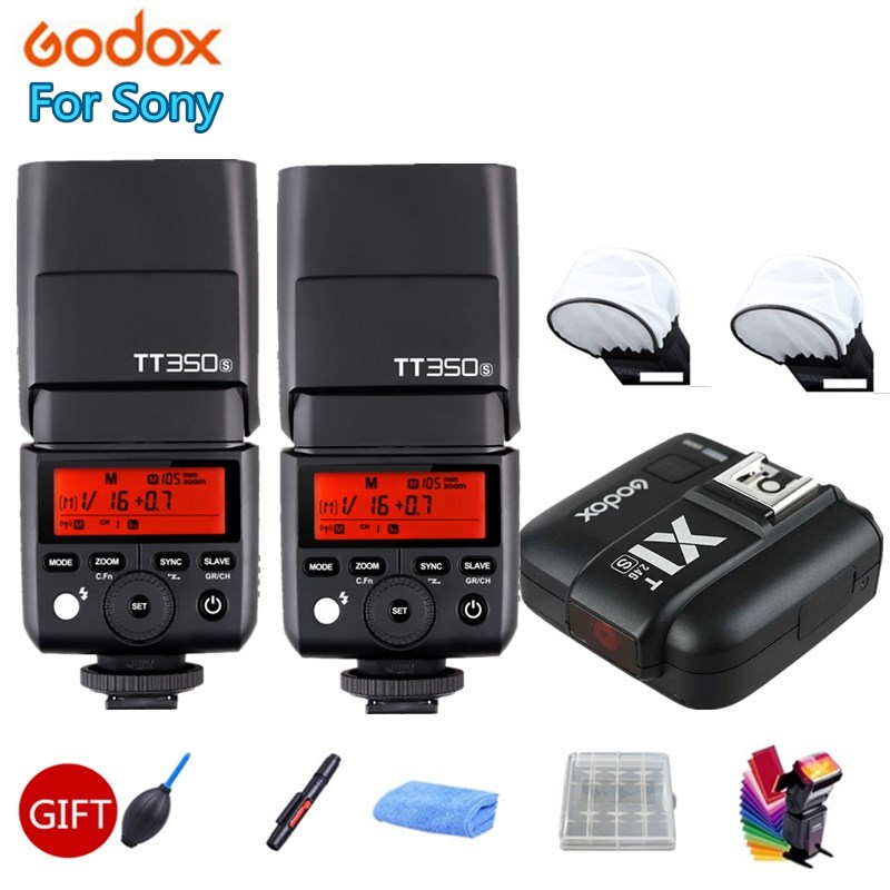 2X Godox TT350S Camera Flash Light TTL HSS 1/8000s 2.4G Speedlite for Mirrorless Camera a7RII a7R a58 a99 ILCE6000L