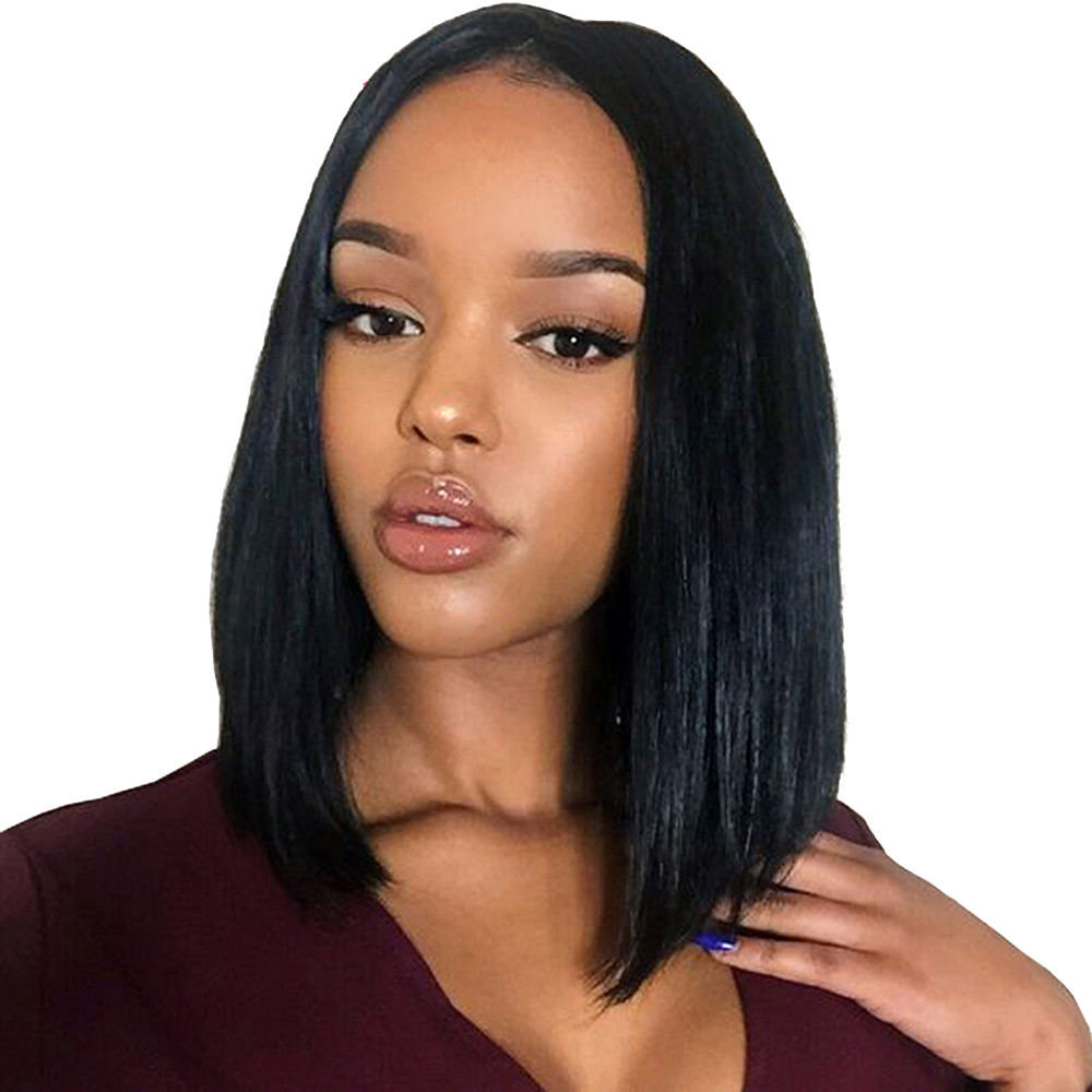 Short Straight Wigs Women s BOB Style Full Head Wig Heat Resistant  Synthetic real Thick black brown. US  2.20 5f3e4ec320