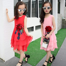 Retail New Style Summer Girl Print Flower Chiffon Dress For Wedding Girls Party Dresses With Big Corsage 5 7 9 11 13 Years