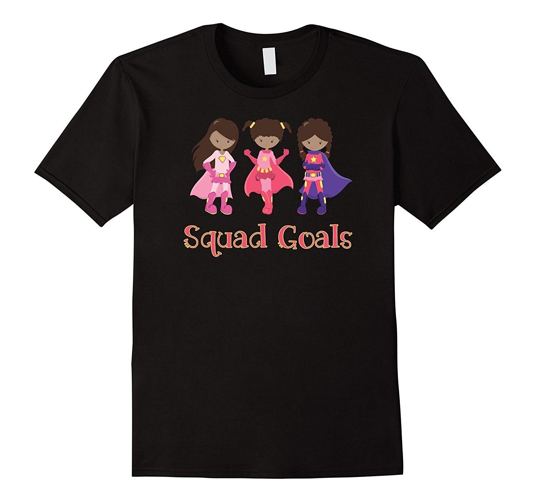 Gildan Black African American Girls Superhero Squad Goals TShirt