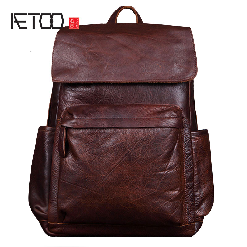 AETOO New leather men backpack leisure first layer of leather shoulder bag fashion trend travel backpack aetoo leather men bag wild european and american first layer of leather men s shoulder bag trend backpack