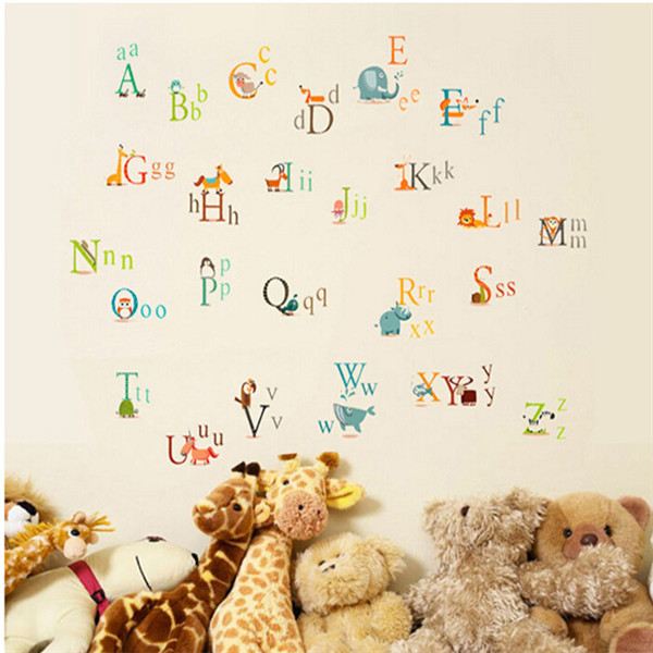 maaryee cartoon animals alphabet letters home decoration decals vinyl wall stickers kindergarden kids room pegatinas de