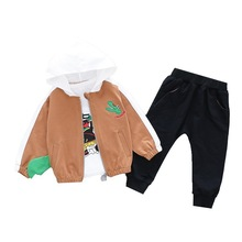 Autumn Children Cartoon Clothes Suit Baby Boys Hooded Jackets Print Tshirt Pants 3 Pcs/sets Kid Toddler Casual Cotton Tracksuits baby boy clothes 3 pcs sets for children high qulity 2018 long sleeve print toddler boys baby suit for kid 2 7 years cls106