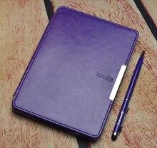 Caso de la cubierta de cuero para Amazon kindle paperwhite inteligente 1/2/3 de protección folio elegante de la caja + protector de pantalla + stylus como regalo