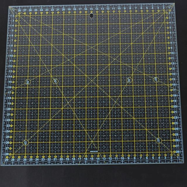 스퀘어 30*30 Cm 패치 워크 눈금자 두꺼운 아크릴 투명한 퀼트 재봉 눈금자 재단사 스텐실 측정 도구 용 눈금자 절단