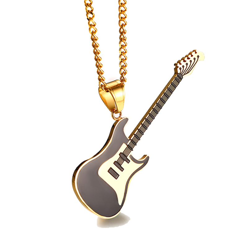 3 Colors Stainless <font><b>Steel</b></font> Music <font><b>Guitar</b></font> Pendants <font><b>Necklaces</b></font> for Men Women Fashion Jewelry Gift image