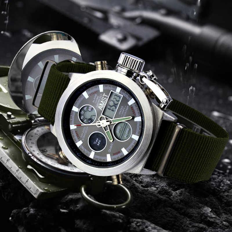 시계 남자 2018 패션 군사 스포츠 쿼츠 시계 다이버 방수 가죽 손목 시계 육군 디지털 시계 relogio masculino